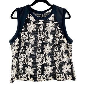 SEARCH FOR SANITY Embroidered Floral Tank Top
